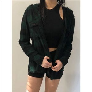 TNA Green/Black Plaid Button-Up with Hood Size: XS